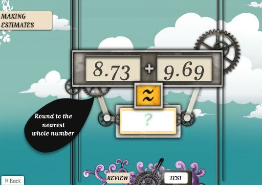 "This is an image from this resource on the Internet4Classrooms' ""Seventh Grade Interactive Math Skills - Estimating"" resource page: Approximation. This game requires an understanding of rounding off numbers. It includes separating numbers into their constituent parts (level 1), rounding to decimal places (level 2) and significant figures (level 3)."
