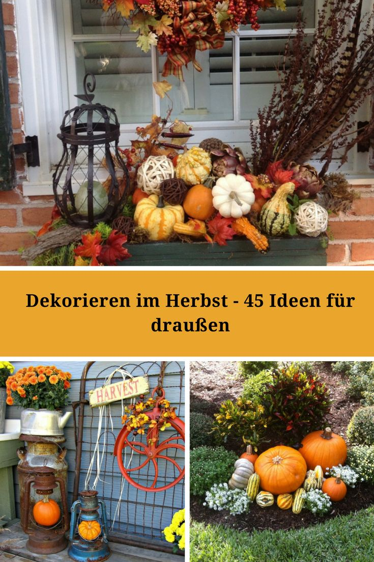 die besten 25 herbstliche au endeko ideen auf pinterest herbst veranda dekorationen. Black Bedroom Furniture Sets. Home Design Ideas