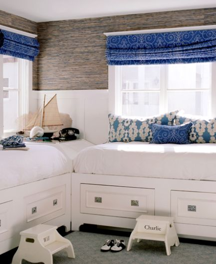 love this: built-in beds with drawers, board and batten and grasscloth wall paper. :): Corner Beds, Built In, Boys Bedrooms, Boys Rooms, Shared Rooms, Twin Beds, Beaches Houses, Guest Rooms, Kids Rooms
