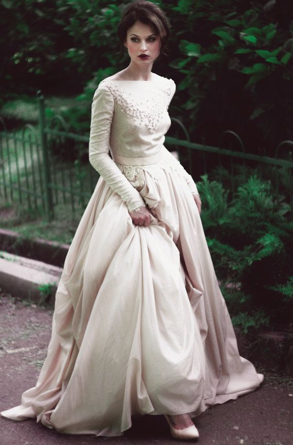 Unique Romantic silk batiste and lace lining wedding dress by CathyTelle