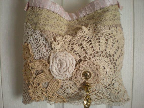 Bohemian Shabby Chic Gypsy Lace Tote  Vintage by Pursuation - leather black handbag, cheap handbags online, small womens purse *sponsored https://www.pinterest.com/purses_handbags/ https://www.pinterest.com/explore/handbags/ https://www.pinterest.com/purses_handbags/handbag-brands/ https://www.dressbarn.com/accessories/handbags