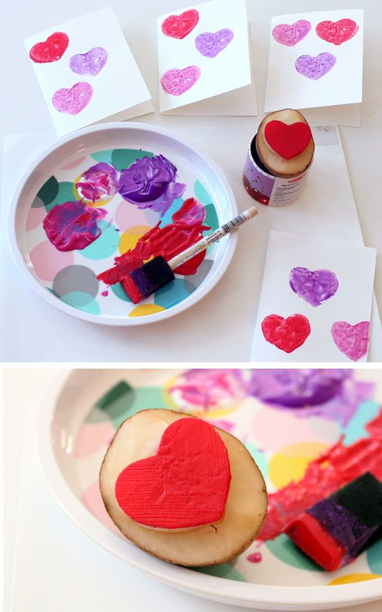 DIY Valentines Cards - with Potato Stamp | Click Pic for 29 DIY Valentines Day Crafts for Kids to Make | Easy Valentine Crafts for Toddlers to Make
