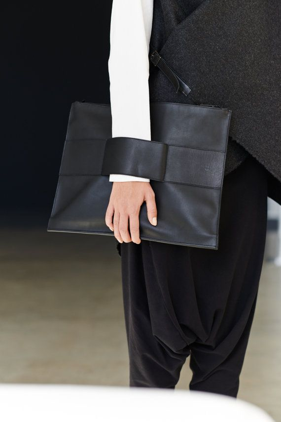 #wishlist Leather Clutch In Black / Unisex Leather Bag / MacBook Air Leather Case / Minimalist Black Leather Bag by Arya Sense