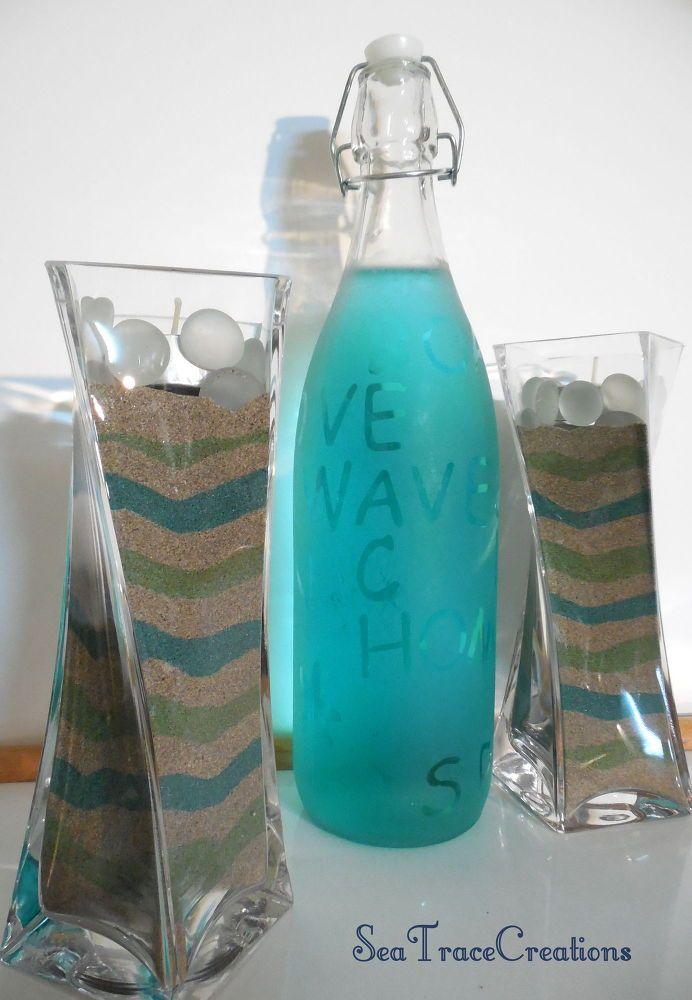 DIY Beach Sand Vases