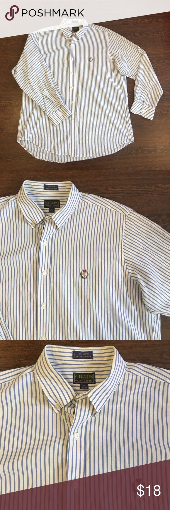 Chaps Ralph Lauren Long Sleeve Button Up Shirt Chaps Ralph Lauren Long Sleeve Button Up Shirt. Men's Size 17 34/35 Dress Shirt. White With Blue Stripes. Embroidered Logo. Lightly Worn With Small Spot On Front And Cuff Area. Chaps Ralph Lauren  Shirts Casual Button Down Shirts