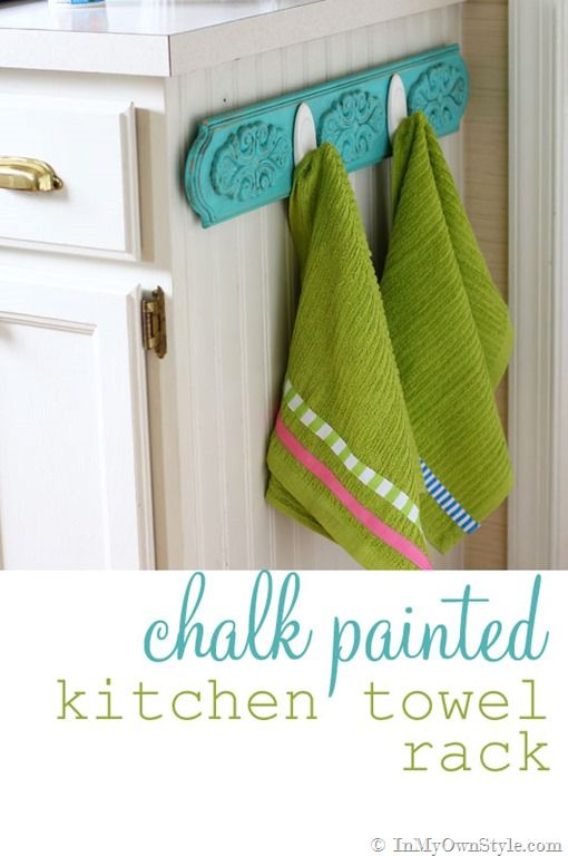 Love this DIY chalk painted towel rack that InMyOwnStyle made using Command Brand Picture Hanging Strips  #chalkpaint    cmp.ly/