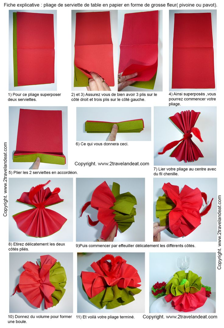 144 best napkins images on pinterest folding napkins for Kitchen colors with white cabinets with pliage de serviettes en papier