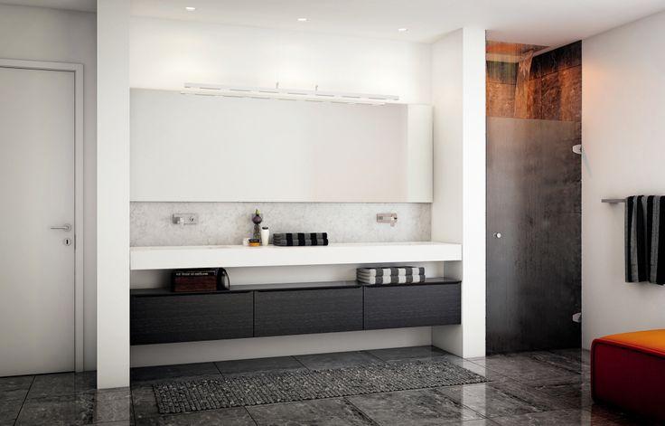 Stilrent design til badet - Seven-modellen fra HTH Speil og belysning til badet vårt!