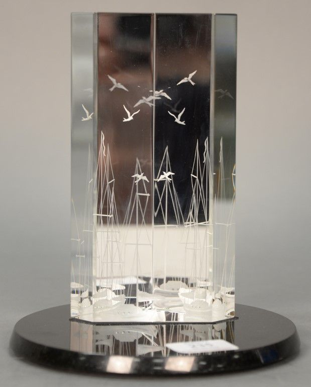 "Steuben Robert Cassetti and Donald Demers ""Harborside"" crystal sculpture on granite base ~ Realized Price $3,750.00  #nadeausauction"