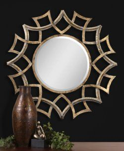 Demarco Round Wall Mirror, Antiqued Gold Finish With A Light Gray Glaze And  Burnished Edges