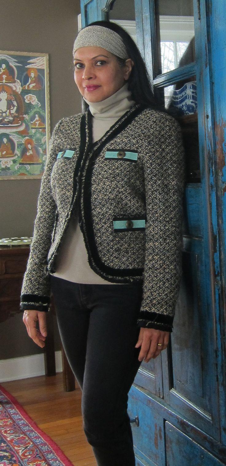 Zara jacket, Uniqlo top, Gap jeans and silk square - 2018