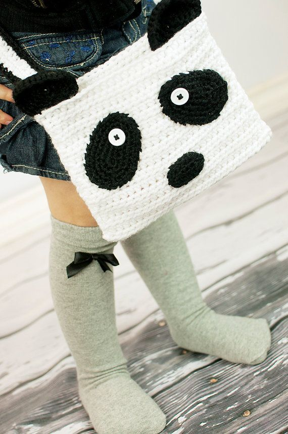 Crochet Panda Purse Tote Bag by GoodKarmaCrochet on Etsy