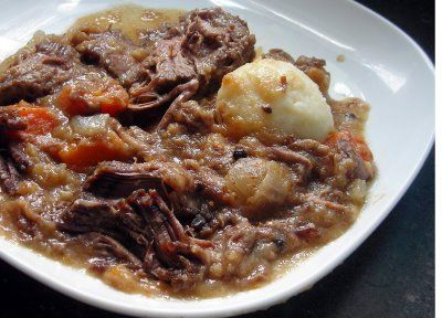Baltimore-Style Sour Beef and Dumplings (made with gingersnaps!) -Baltimore has strong German roots and some of the old food traditions continue today.    Read more: http://www.coconutandlime.com/2008/07/sour-beef-and-dumplings-sauerbraten.html#ixzz2TzdwOra1