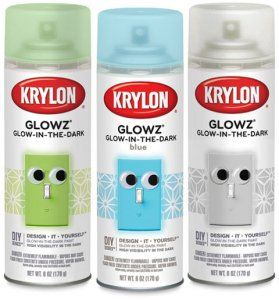"""Krylon Glowz. Glow-in-the-dark paint that recharges with exposure to light."" I want to try a paint like this on smooth, large river rocks to create a ""lighted"" pathway in my garden, highlight landscaping features. I am also playing with the idea of painting recycled bottles and hang them along my fence. Free lights, if it works as promised :-)"