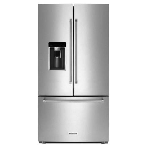 Shop KitchenAid 23.8-cu ft 3-Door Counter-Depth French Door Refrigerator Single Ice Maker (Stainless Steel) at Lowes.com