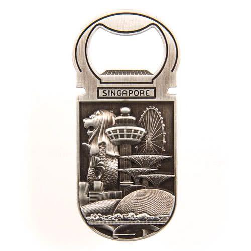 Metal Fridge Magnet: Singapore. Main Attractions. Bottle Opener (Silver Color)