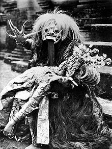 Rangda is the demon queen of the leyaks in Bali, according to traditional Balinese mythology. Terrifying to behold, the child-eating Rangda leads an army of evil witches against the leader of the forces of good — Barong. The battle between Barong and Rangda is featured in a Barong dance which represents the eternal battle between good and evil. Rangda is a term in old Javanese that means: 'widow'
