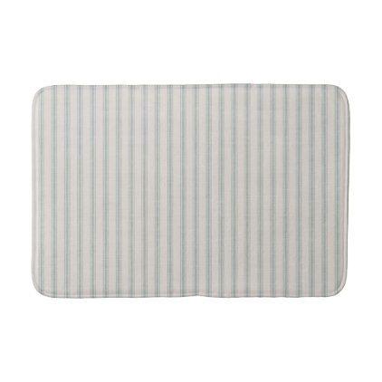 Farmhouse Blue Linen Ticking Stripes Bath Mat  $31.65  by stateoftheheart  - cyo customize personalize diy idea