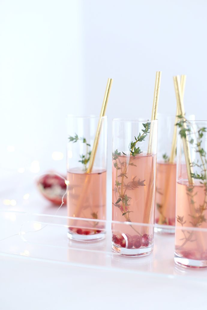 Pomegranate thyme fizz cocktail - perfect for a Girls Night In.
