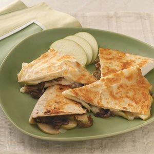 Apple Brie Quesadillas - we use whatever shredded cheese we have on hand. They are a delicious, easy meal to make.