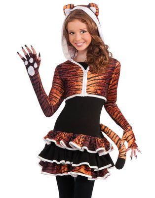 young girls cute tigress kitty cat tween animal teen halloween costume set s m ebay - Cute Teenage Girl Halloween Ideas