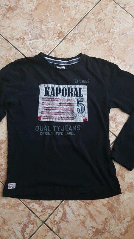 e17ad3684cd T shirt KAPORAL 5 noir manches longues en coton. Imprimé devant. Taille 16  ans