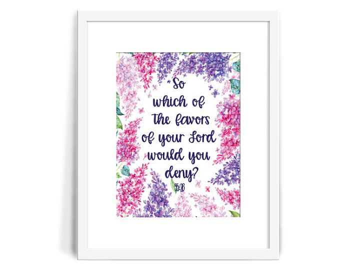 So which of the favors of your lord will you deny? Beautiful inspiration from the Quran. Great as a house warming gift or gift for yourself! Browse my other prints from MeMuslimaDesigns on Etsy.