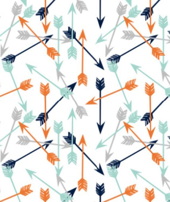 Changing pad cover in navy orange mint and gray by EmmaKensington