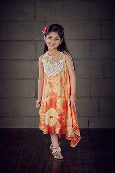 Asymmetrical block print kurti embellished with thread work by #Benzer #Benzerworld #Kidswear #KurtaForKids #Kurta