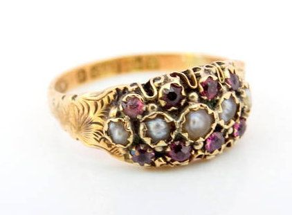 Georgian Antique 1831 Birmingham Amethyst and Natural Seed Pearl Fashion Dress Ring in Highly Ornate 9ct Yellow Gold FREE POSTAGE by GloryBeVintageWares on Etsy