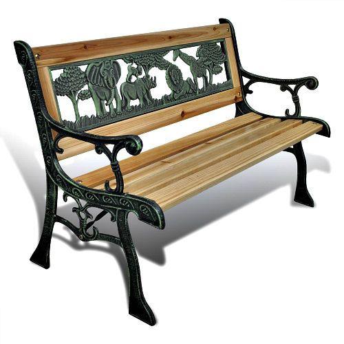 Kids Garden Furniture Wood & Iron Patio Children Bench Outdoor Summer Fun Seat   #Unbranded