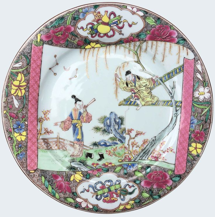 A Chinese export porcelain famille rose plate depicting a scene from The Romance of the Western Chamber. Yongzheng period. Painted in famille rose enamels and decorated with a scroll-form panel painted with a scene from Romance of the Western Chamber, surrounded by flowers and shaped panels enclosing auspicious emblems, on dense scroll ground.