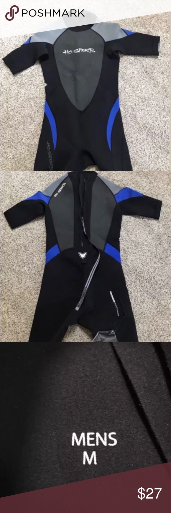 Ho Sports Mens Medium Wetsuit w/ Back Zipper Ho Sports Mens Medium Wetsuit Back Zipper Blue & Gray. Pre-Owned but In good condition. Ho Sports Swim