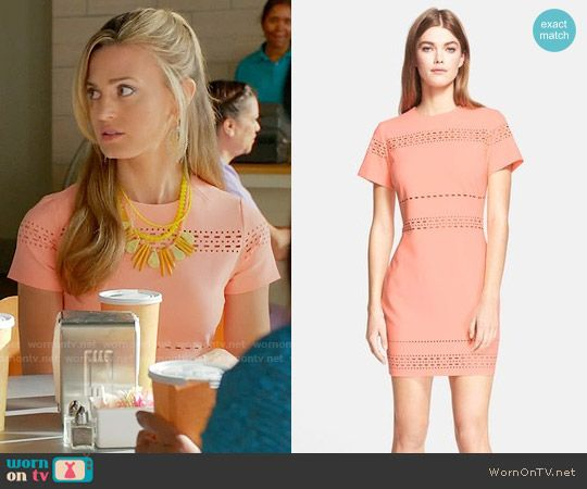 Paige's coral short sleeved dress on Royal Pains.  Outfit Details: https://wornontv.net/58248/ #RoyalPains  Buy it here: http://wornon.tv/36589