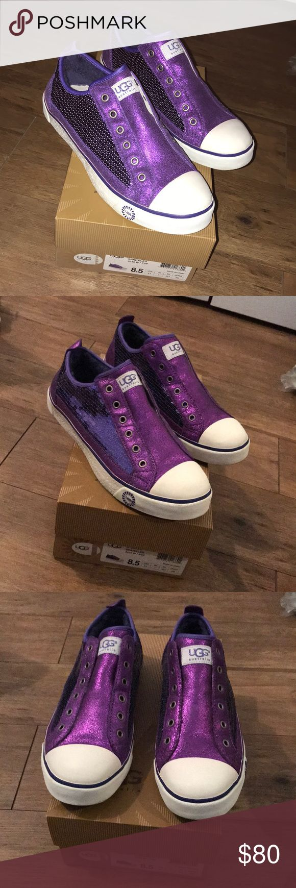 Purple UGG Laela Sparkles Sneakers UGG Laela Sparkles Sneakers. Women's size 8.5. Purple sparkle material and purple sequin with white easy to clean toes and soles (easy to wipe off any dirt). Purple fur lining inside. Only worn 1-2 times, so look and feel brand new. Comes with original box.   As always, happy to look at reasonable offers! UGG Shoes Sneakers