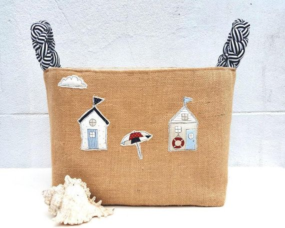 NAUTICAL BURLAP BAG 3D Large Storage Organiser by VintageFromChris