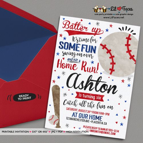 Baseball Birthday Party invitations Baseball Birthday invitations Printable Watercolors birthday invitations Baseball Invite