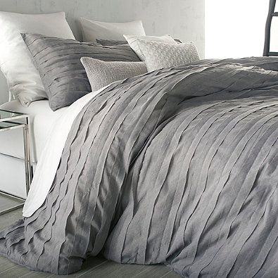 Our bedding ❤ this on my king is like sleeping on a cloud! DKNY Loft Stripe Comforter Set in Grey