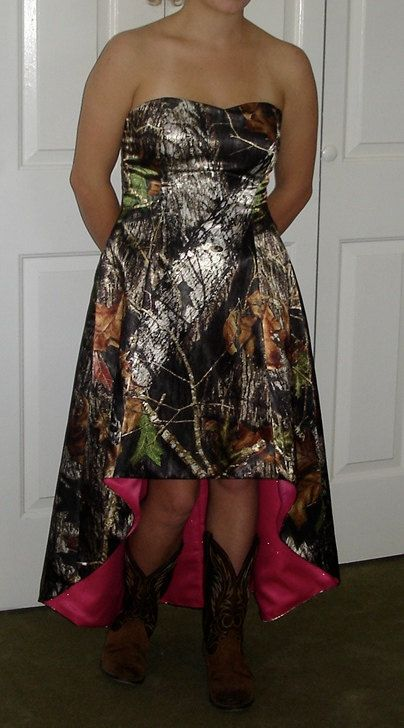 CAMO Dress MadeToOrder Hi / Lo Aline Dress with by SewingCamoGowns, $230.00