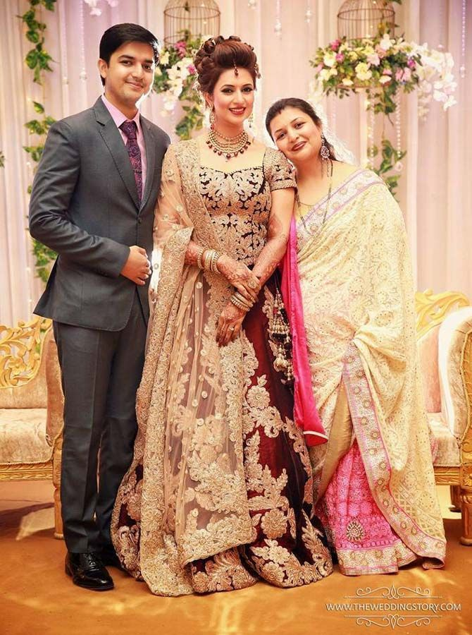 Divyanka Tripathi with her mother and brother at her wedding reception in Chandigarh. #Bollywood #Fashion #Style #Beauty #Hot #Sexy #Ethnic #Wedding