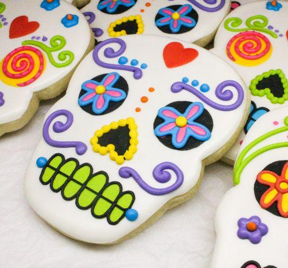 SweetTweets - Dia de los Muertos / Day of the Dead Skull cookies - 1 dozen on Etsy, $54.00