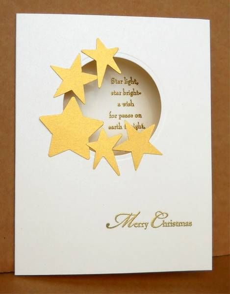 handmade card ... Clever idea for a Christmas card ... porthole window with die cut stars clustered on one side... sentiment shows through from inside ...