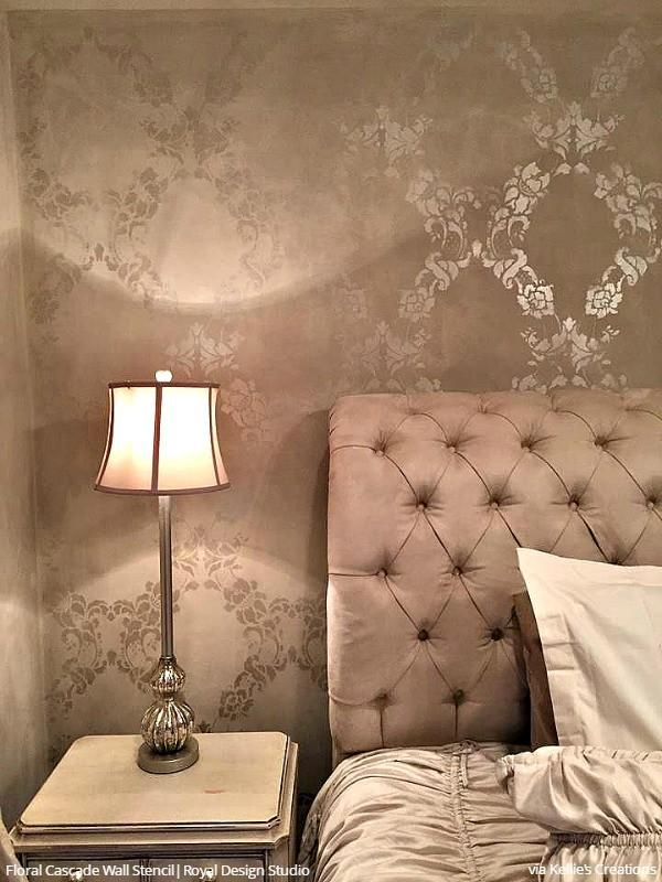 Large Flower Stencils Classic Traditional Glam Bedroom Wall Stencils - Royal Design Studio
