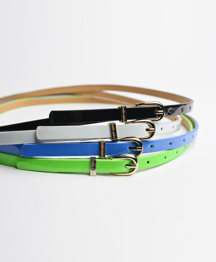 Patent Neon Belt in Black, White, Blue, Green