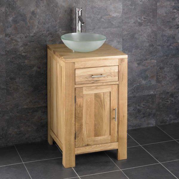 Small Square Bathroom Oak Vanity Unit