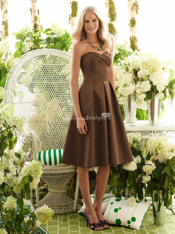chic coffee tea length sweetheart neck sleeveless a-line pleated satin bridesmaid dress