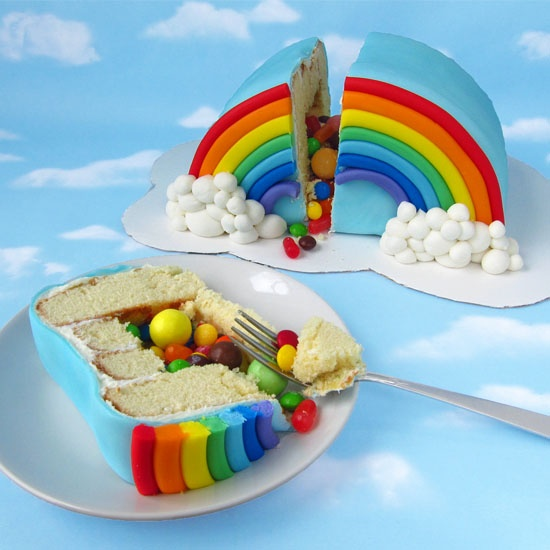 Hungry Happenings:  Rainbow Pinata Cake