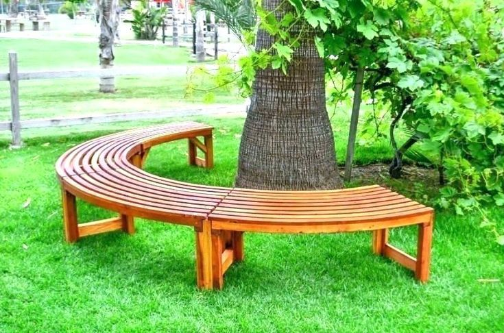 Half Round Bench Semi Circle Circular Tree Benches Elegant Wooden