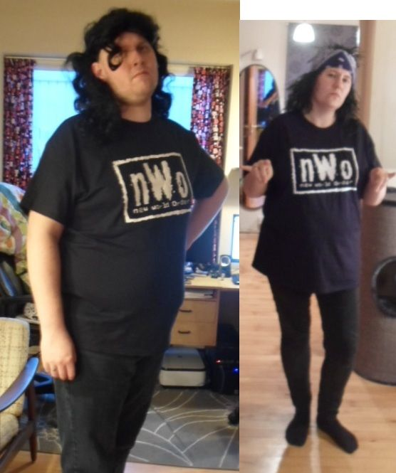 Razor Ramon and X-pac (wrestlers) costumes from their NWO days. Shirts bought on E-bay. Wigs and bandana bought at a store called Butik Karneval in Denmark.