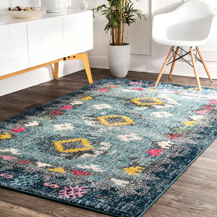 nuLoom Southwestern Tribal Distressed Blue/Multicolored Synthetic Fabric/Nylon Indoor Rectangular Rug (8' x 10') (Blue), Size 8' x 10'